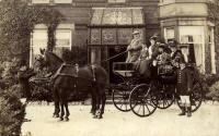 J.P. Dixon driving a carriage with his wife (seated at rear) and Ethel Dixon his 