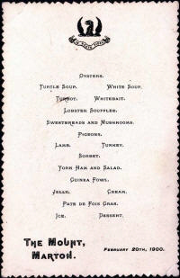 Dinner menu from the Mount